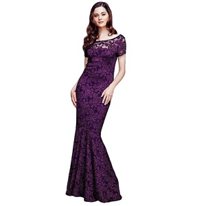 Plus Size Hotsquash Purple Lace Maxi Dress With Capped Sleeve