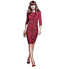 HotSquash - Burgundy long sleeved dress with frill detail