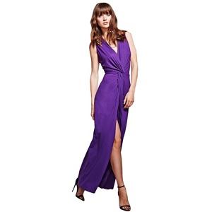Hotsquash Long Elegant Purple Maxi Dress With Knot Detail