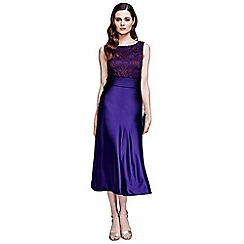 HotSquash - Long purple silk midi dress with lace top