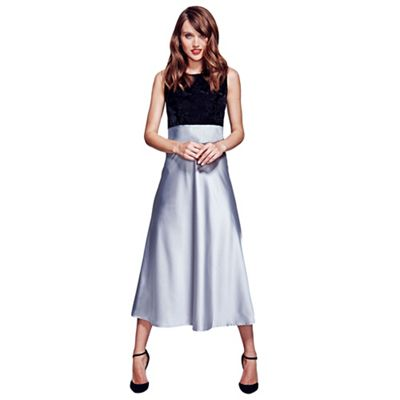 HotSquash Silver silk midi dress with black velvet top