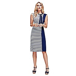 HotSquash - Solid Navy & Stripes Paris Bateau Dress in Easycare Fabric
