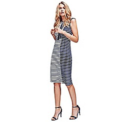 HotSquash - White & Navy Stripes Paris Bateau Dress in Easycare Fabric