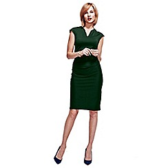 HotSquash - Bottle Green Kensington V Cut Dress in Clever Fabric