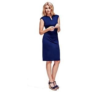 Hotsquash Navy (Blue) Kensington V Cut Dress in Clever Fabric