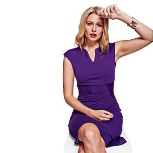 Hotsquash Purple Kensington V Cut Dress in Clever Fabric
