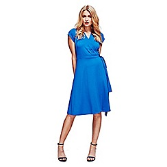 HotSquash - Cobalt Cap Sleeve Wrap Dress in Easycare Fabric