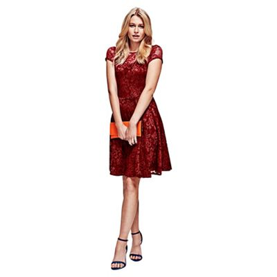HotSquash Red Lace Fit n Flare Dress in Clever Fabric