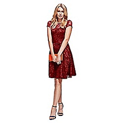 HotSquash - Red lace fit n flare dress in clever fabric