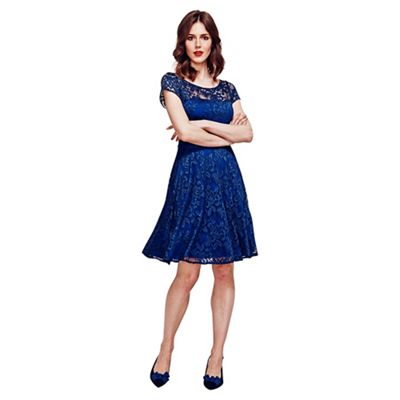 HotSquash Navy Lace Fit n Flare Dress with Thermal Lining