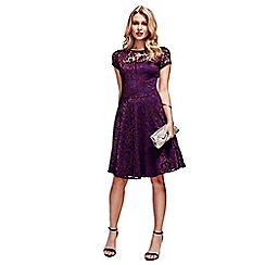 HotSquash - Purple Lace Fit n Flare Dress with Thermal Lining