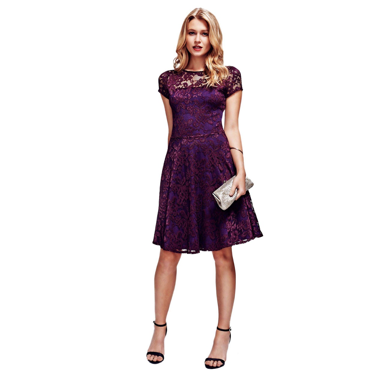 purple purple dress for wedding HotSquash Purple Lace Fit n Flare Dress with Thermal Lining