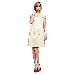 HotSquash - Cream Lace Fit n Flare Dress with Thermal Lining