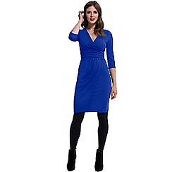HotSquash - Royal blue V Neck Mock Wrap Thermal Dress