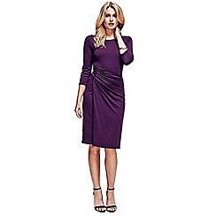HotSquash - Damson boatneck thermal dress with side-ruching