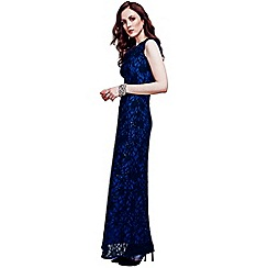 HotSquash - Blue cowl neck lace maxi dress in ThinHeat fabric