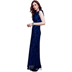 HotSquash Blue cowl neck lace maxi dress in ThinHeat fabric