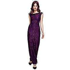 HotSquash - Purple Cowl Neck Lace Maxi Dress in ThinHeat Fabric