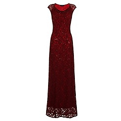 HotSquash - Burgundy Cowl Neck Lace Maxi Dress in ThinHeat Fabric