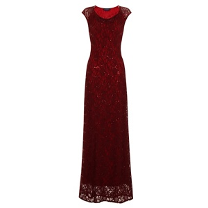 HotSquash Burgundy Cowl Neck Lace Maxi Dress in ThinHeat Fabric