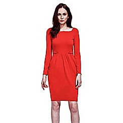 HotSquash - Red Square Necked Pinafore Dress in Clever Fabric