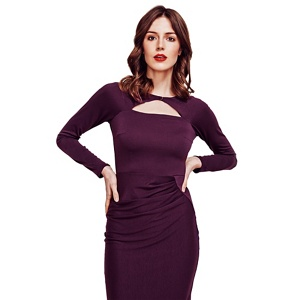 Hotsquash Damson Mock Cardi Jersey Dress in Clever Fabric