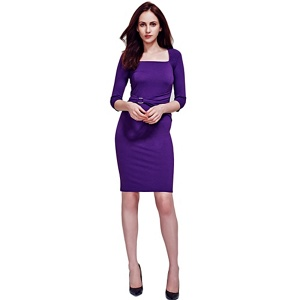 HotSquash Purple Gathered, Silver Buckle Dress in Clever Fabric