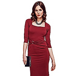 HotSquash - Burgundy Gathered, Silver Buckle Dress in Clever Fabric