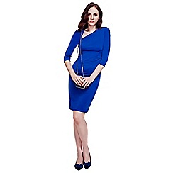 HotSquash - Royal Blue Asymmetric Neckline Dress in Clever Fabric
