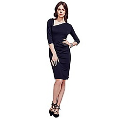 HotSquash - Black Asymmetric Neckline Jersey Dress in Clever Fabric
