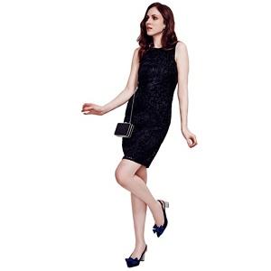 HotSquash Black Burnout Sleeveless Shift Dress in Clever Fabric