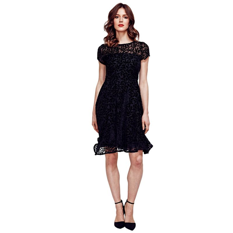 Hotsquash Black Velvet Fit N Flare Dress in Clever Fabric,