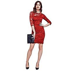 HotSquash - Red One-Sleeved Thermal Lace Dress in Clever Fabric