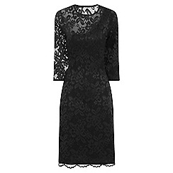 HotSquash - Black One-Sleeved Thermal Lace Dress in Clever Fabric