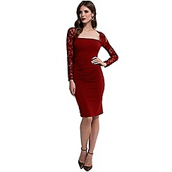 HotSquash - Red Lace Sleeved Jersey Dress in Clever Fabric
