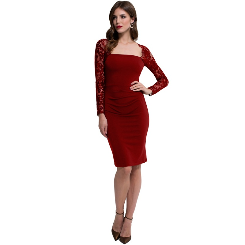 2736bb52b0b HotSquash Red Lace Sleeved Jersey Dress in Clever Fabric
