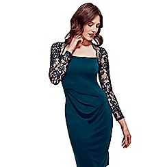 HotSquash - Bottle green lace sleeved jersey dress in clever fabric