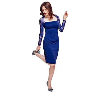 Hotsquash Royal Blue Lace Sleeved Jersey Dress in Clever Fabric