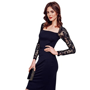 HotSquash Black Lace Sleeved Jersey Dress in Clever Fabric