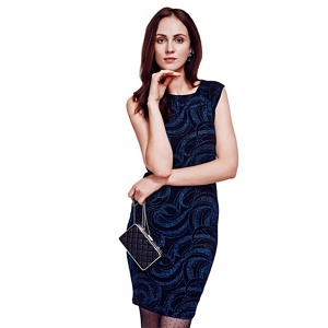 HotSquash Blue Shift Dress With Sparkle Overlay in Clever Fabric