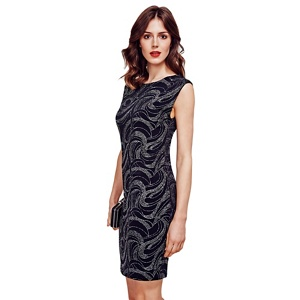 HotSquash Black Shift Dress With Sparkle Overlay in Clever Fabric