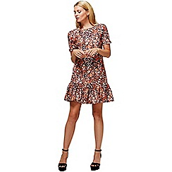 HotSquash - Copper flower drop waist dress in cool fresh fabric