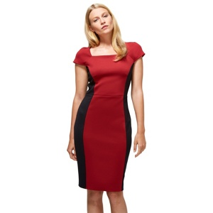 HotSquash Red & black square neck hourglass ponte dress