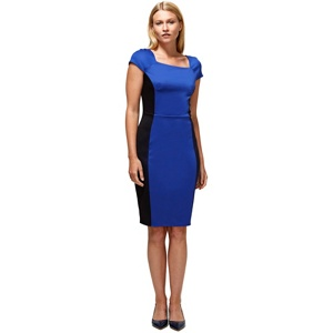 HotSquash Royal blue square neck hourglass ponte dress