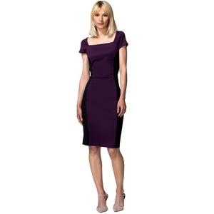 HotSquash Damson & black square neck hourglass ponte dress