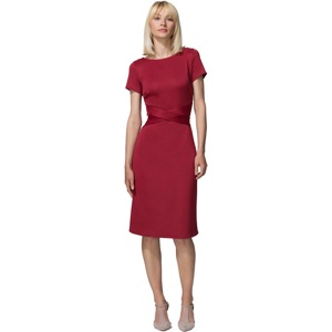 Plus Size Hotsquash Red Cross Waist Ponte Dress in Clever Fabric