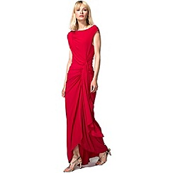 HotSquash - Red Grecian Maxi Evening Dress in Clever Fabric