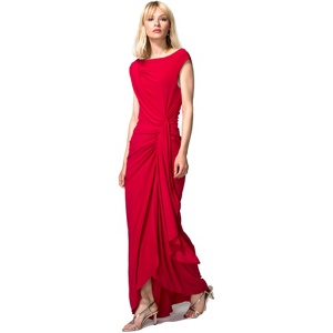 HotSquash Red Grecian Maxi Evening Dress in Clever Fabric