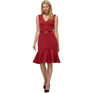 HotSquash Red v-neck drop waist ponte dress in clever fabric