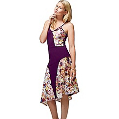 HotSquash - Purple spaghetti strap floral dress in clever fabric